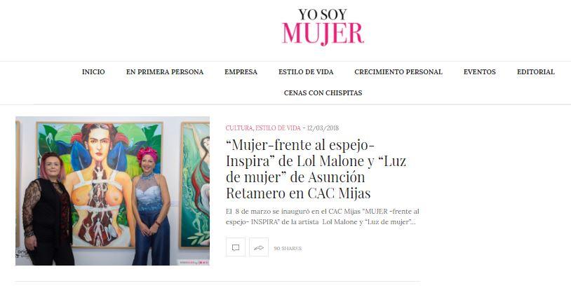 Artículo Cultura Yo Soy Mujer Inauguración de la Exposición de Lol Malone